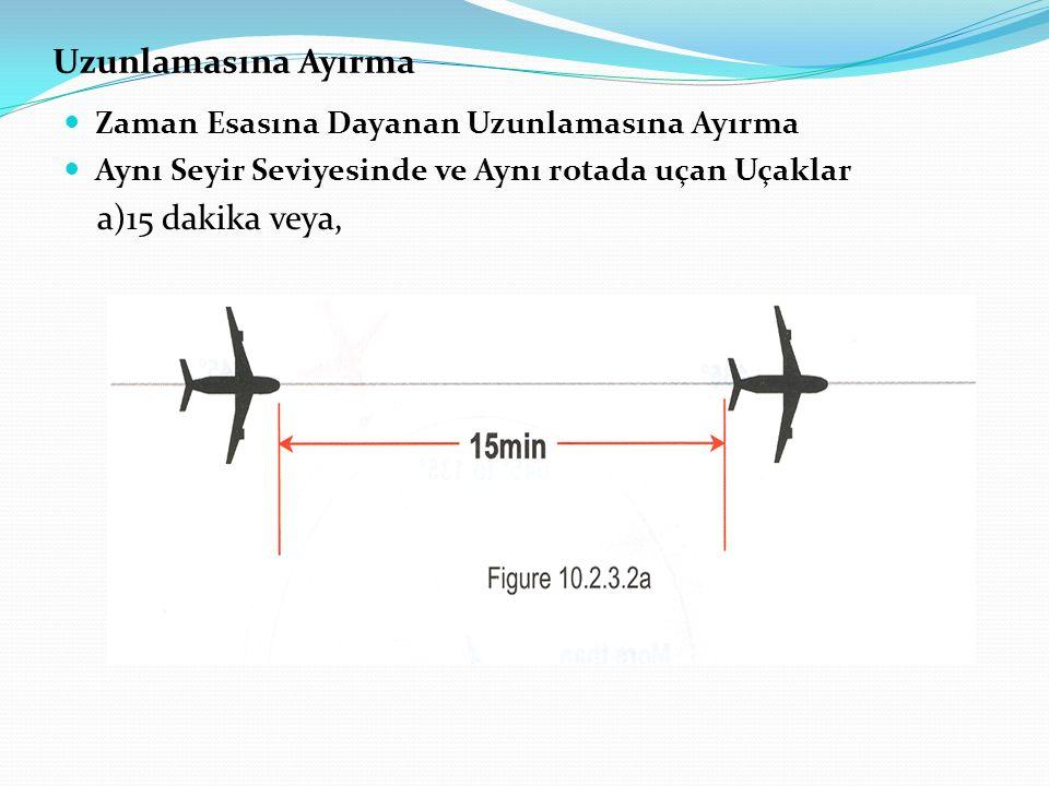 Uzunlamasına Ayırma Zaman Esasına Dayanan Uzunlamasına Ayırma Aynı Seyir Seviyesinde ve Aynı rotada uçan Uçaklar a)15 dakika veya,