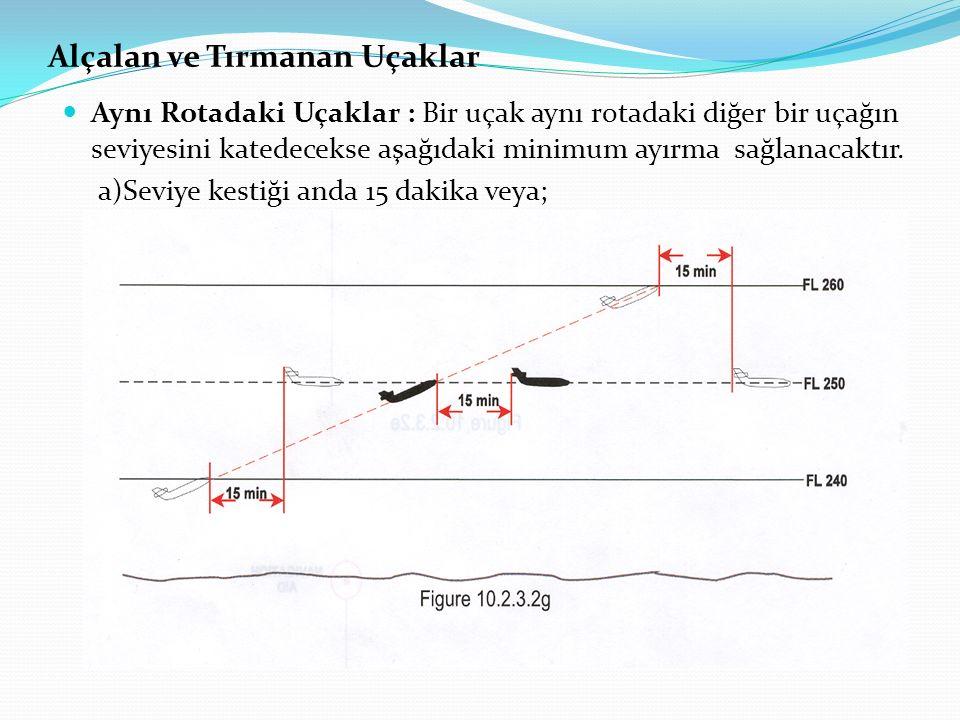 Alçalan ve Tırmanan Uçaklar Aynı Rotadaki Uçaklar : Bir uçak aynı rotadaki diğer bir uçağın seviyesini katedecekse aşağıdaki minimum ayırma sağlanacak