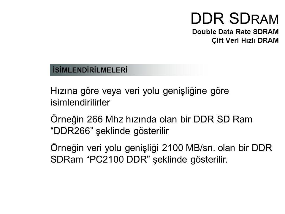 İSİMLENDİRİLMELERİ Hızına göre veya veri yolu genişliğine göre isimlendirilirler Örneğin 266 Mhz hızında olan bir DDR SD Ram DDR266 şeklinde gösterilir Örneğin veri yolu genişliği 2100 MB/sn.