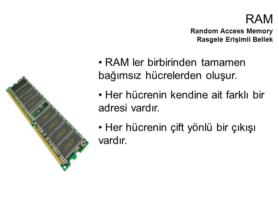 RAM ler birbirinden tamamen bağımsız hücrelerden oluşur.