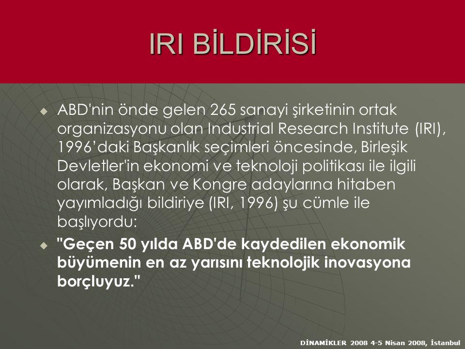 DİNAMİKLER 2008 4-5 Nisan 2008, İstanbul IRI BİLDİRİSİ   ABD nin önde gelen 265 sanayi şirketinin ortak organizasyonu olan Industrial Research Institute (IRI), 1996'daki Başkanlık seçimleri öncesinde, Birleşik Devletler in ekonomi ve teknoloji politikası ile ilgili olarak, Başkan ve Kongre adaylarına hitaben yayımladığı bildiriye (IRI, 1996) şu cümle ile başlıyordu:   Geçen 50 yılda ABD de kaydedilen ekonomik büyümenin en az yarısını teknolojik inovasyona borçluyuz.