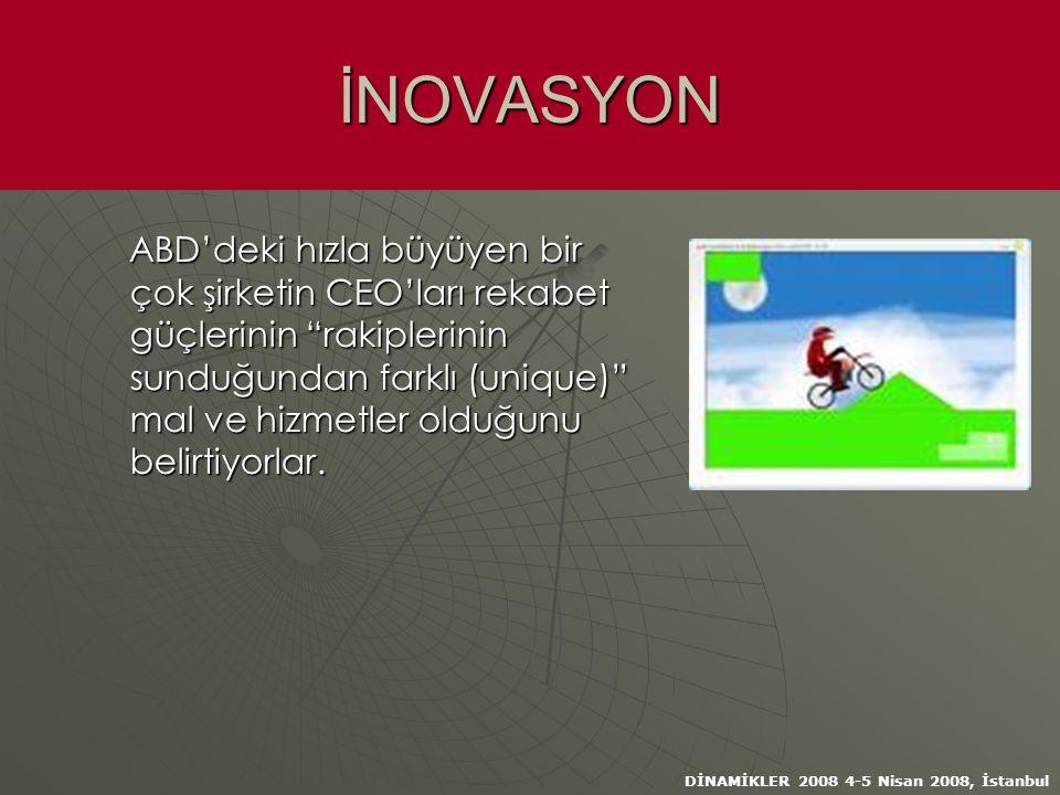 DİNAMİKLER 2008 4-5 Nisan 2008, İstanbul İNOVASYON ABD'deki hızla büyüyen bir çok şirketin CEO'ları rekabet güçlerinin rakiplerinin sunduğundan farklı (unique) mal ve hizmetler olduğunu belirtiyorlar.