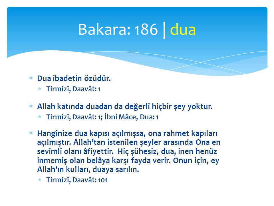  Dua ibadetin özüdür.  Tirmizî, Daavât: 1  Allah katında duadan da değerli hiçbir şey yoktur.  Tirmizî, Daavât: 1; İbni Mâce, Dua: 1  Hanginize d