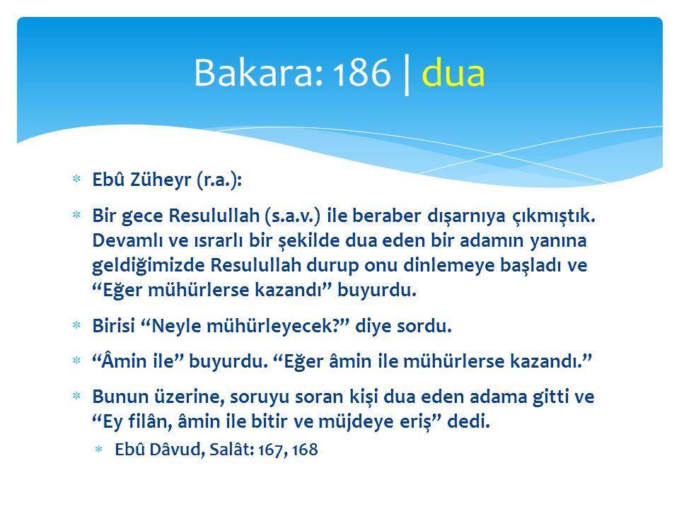  Ebû Züheyr (r.a.):  Bir gece Resulullah (s.a.v.) ile beraber dışarnıya çıkmıştık. Devamlı ve ısrarlı bir şekilde dua eden bir adamın yanına geldiği