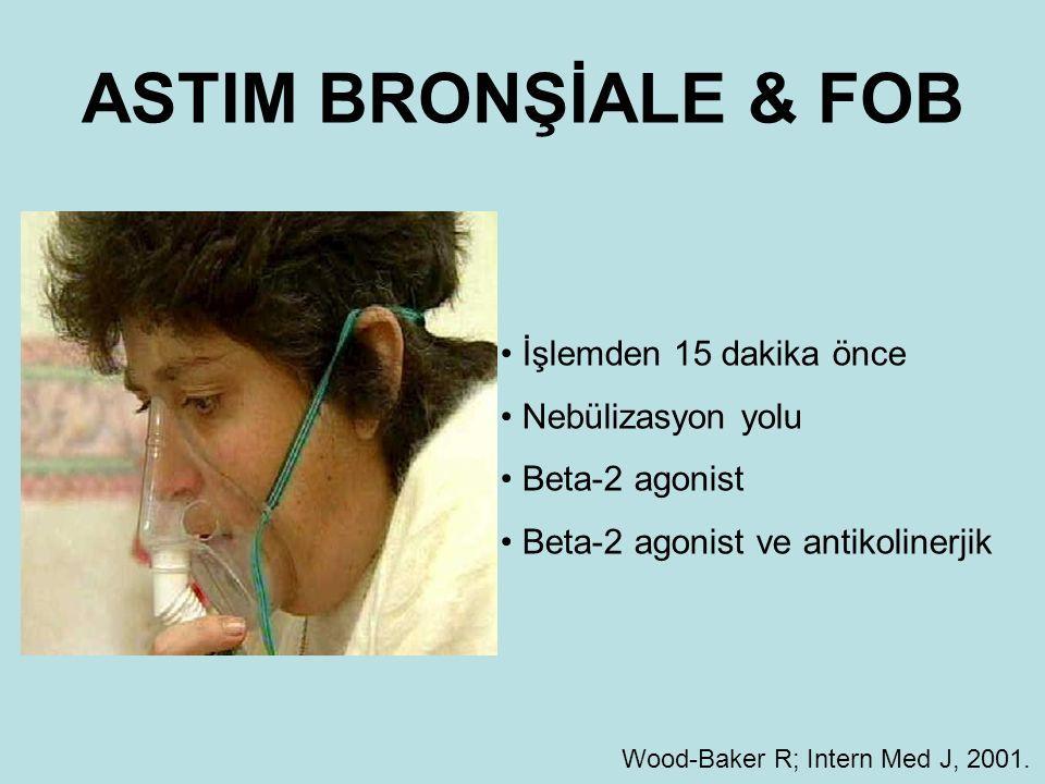 ASTIM BRONŞİALE & FOB İşlemden 15 dakika önce Nebülizasyon yolu Beta-2 agonist Beta-2 agonist ve antikolinerjik Wood-Baker R; Intern Med J, 2001.