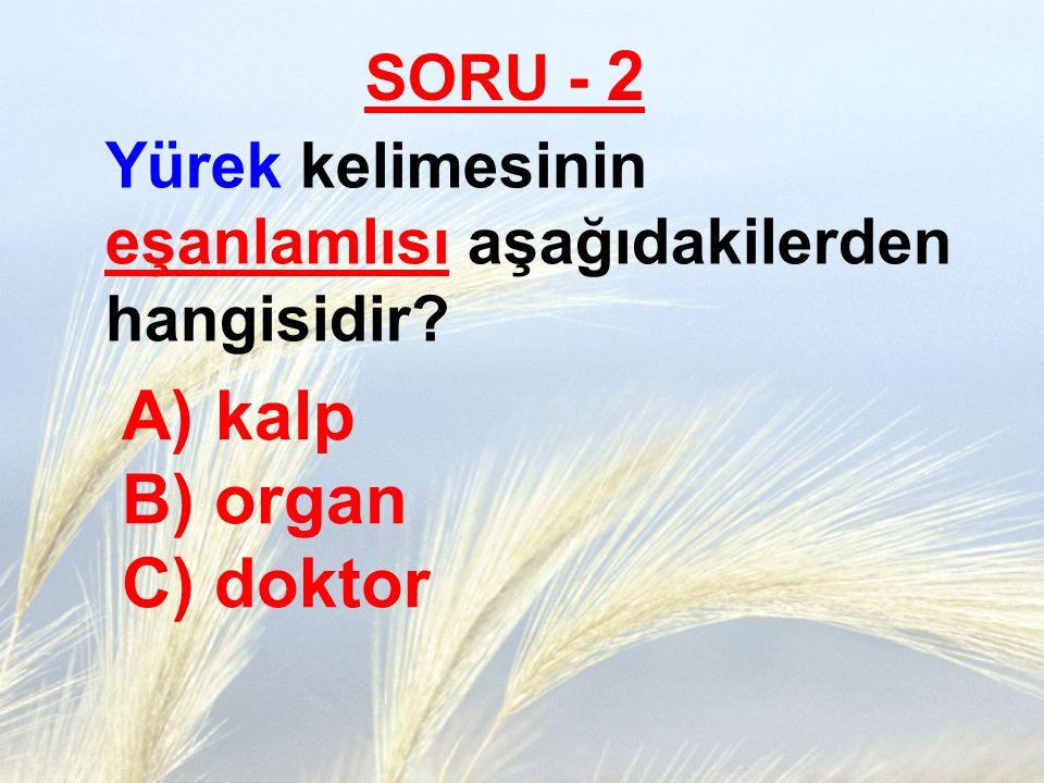 SORU - 2 Yürek kelimesinin eşanlamlısı aşağıdakilerden hangisidir? A) kalp B) organ C) doktor