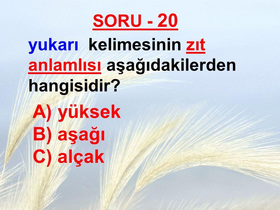 SORU - 20 yukarı kelimesinin zıt anlamlısı aşağıdakilerden hangisidir? A) yüksek B) aşağı C) alçak