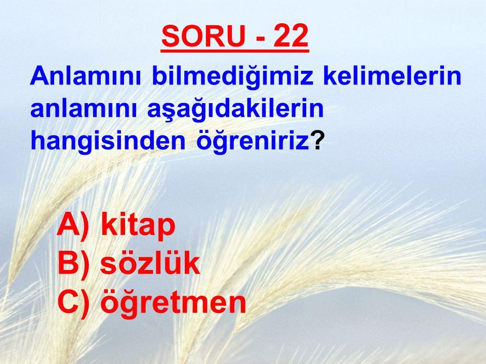 SORU - 22 Anlamını bilmediğimiz kelimelerin anlamını aşağıdakilerin hangisinden öğreniriz? A) kitap B) sözlük C) öğretmen