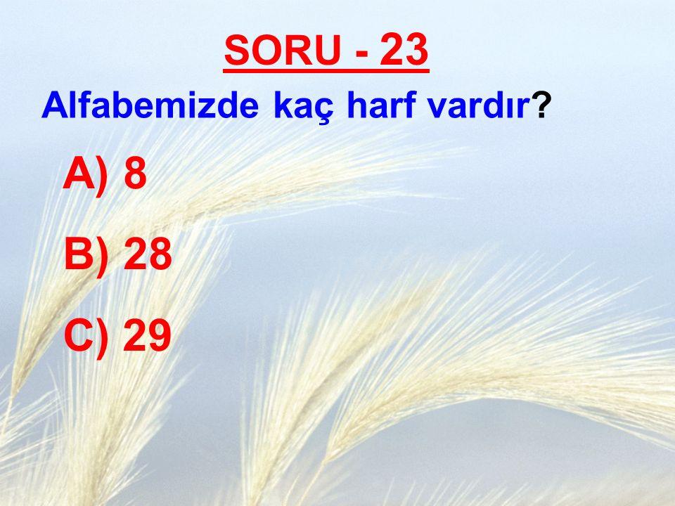 SORU - 23 Alfabemizde kaç harf vardır? A) 8 B) 28 C) 29