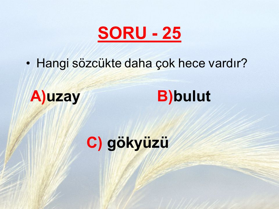SORU - 25 Hangi sözcükte daha çok hece vardır? A)uzay B)bulut C) gökyüzü