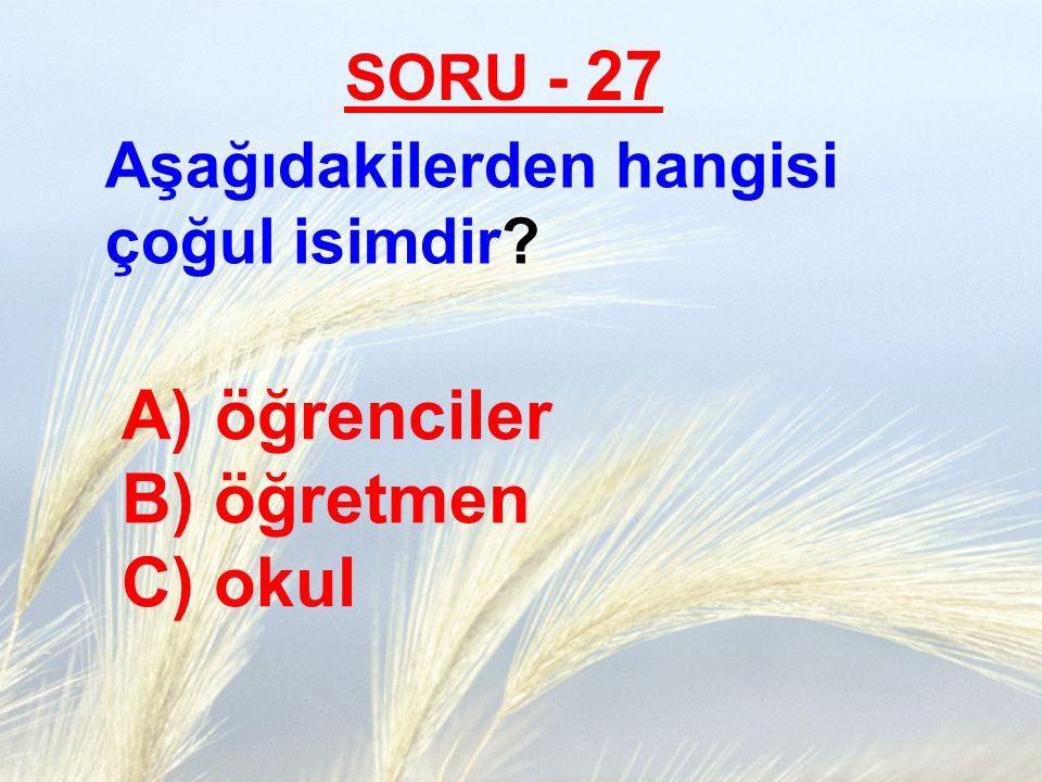 SORU - 27 Aşağıdakilerden hangisi çoğul isimdir? A) öğrenciler B) öğretmen C) okul