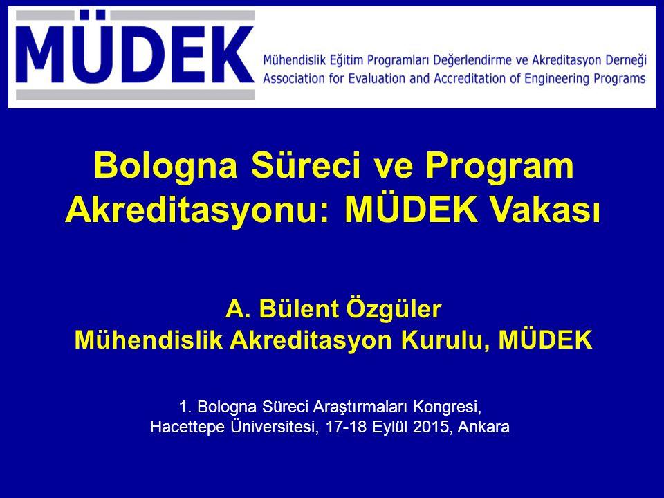1. Bologna Süreci Araştırmaları Kongresi, Hacettepe Üniversitesi, 17-18 Eylül 2015, Ankara Bologna Süreci ve Program Akreditasyonu: MÜDEK Vakası A. Bü
