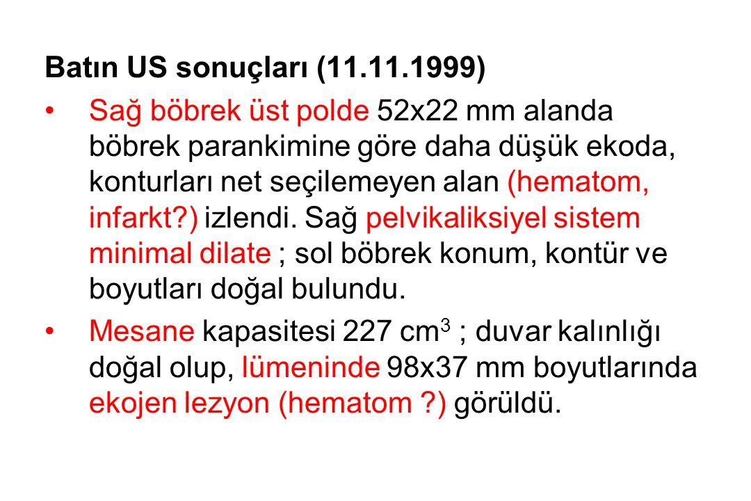 Batın US sonuçları (11.11.1999) Sağ böbrek üst polde 52x22 mm alanda böbrek parankimine göre daha düşük ekoda, konturları net seçilemeyen alan (hematom, infarkt?) izlendi.
