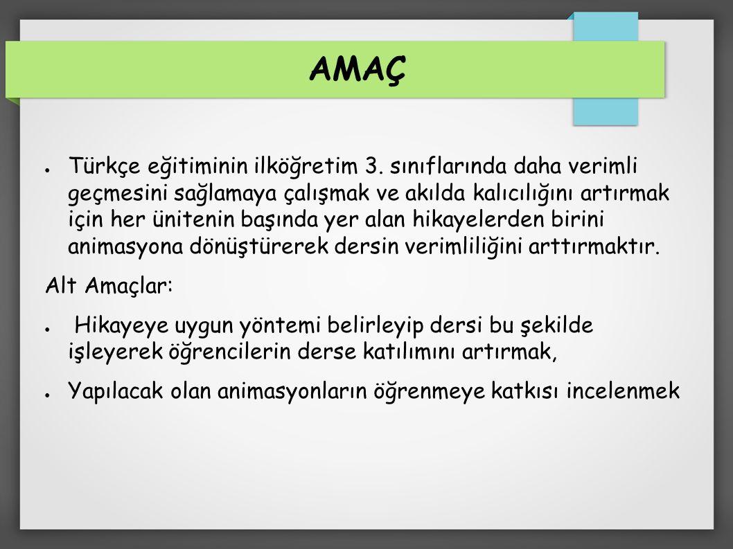 AMAÇ ● Türkçe eğitiminin ilköğretim 3.