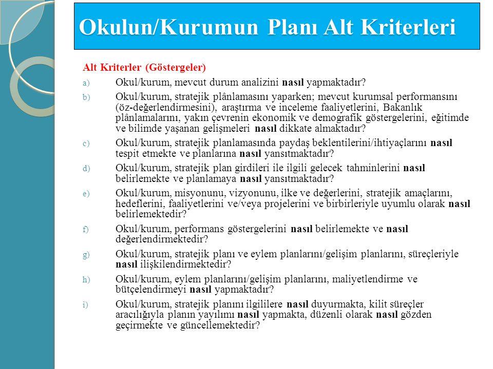 Okulun/Kurumun Planı Alt Kriterleri Alt Kriterler (Göstergeler) a) Okul/kurum, mevcut durum analizini nasıl yapmaktadır? b) Okul/kurum, stratejik plân