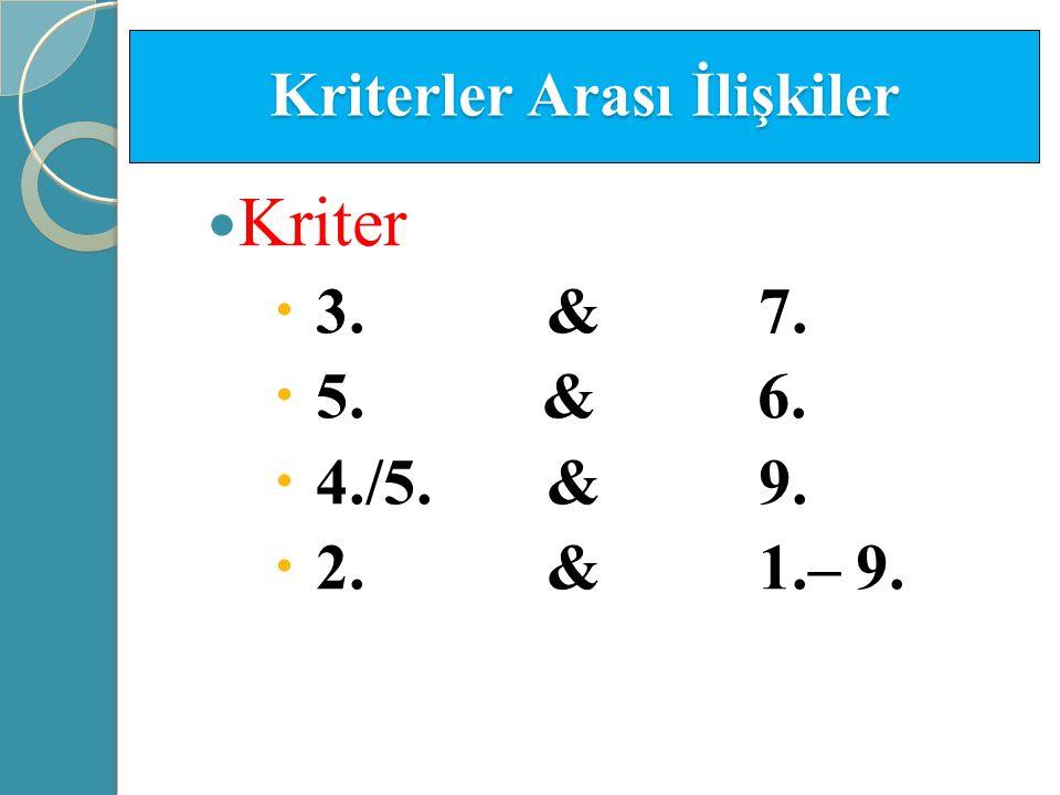 Kriterler Arası İlişkiler Kriter  3. & 7.  5. & 6.  4./5. & 9.  2. & 1.– 9.