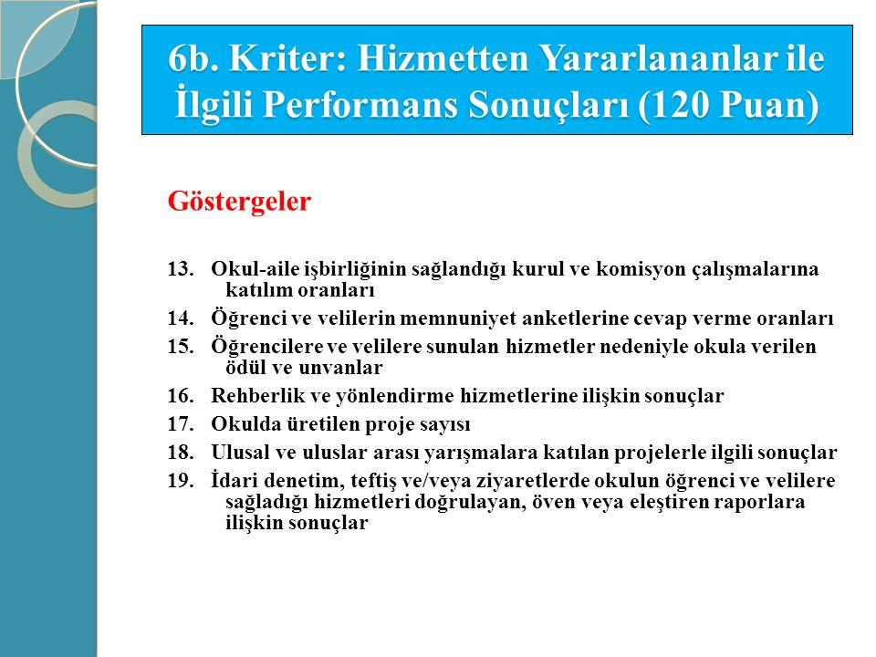 6b. Kriter: Hizmetten Yararlananlar ile İlgili Performans Sonuçları (120 Puan) Göstergeler 13. Okul-aile işbirliğinin sağlandığı kurul ve komisyon çal