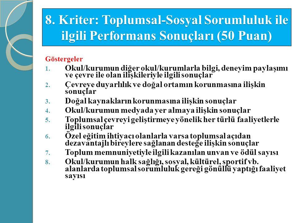 8. Kriter: Toplumsal-Sosyal Sorumluluk ile ilgili Performans Sonuçları (50 Puan) Göstergeler 1. Okul/kurumun diğer okul/kurumlarla bilgi, deneyim payl