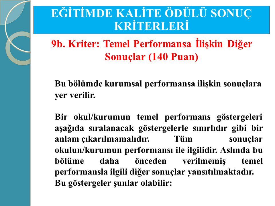 Bu bölümde kurumsal performansa ilişkin sonuçlara yer verilir. Bir okul/kurumun temel performans göstergeleri aşağıda sıralanacak göstergelerle sınırl