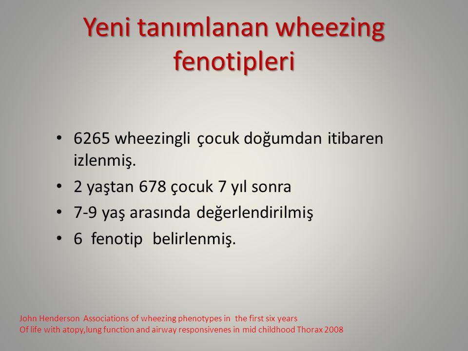 Yeni tanımlanan wheezing fenotipleri 6265 wheezingli çocuk doğumdan itibaren izlenmiş. 2 yaştan 678 çocuk 7 yıl sonra 7-9 yaş arasında değerlendirilmi