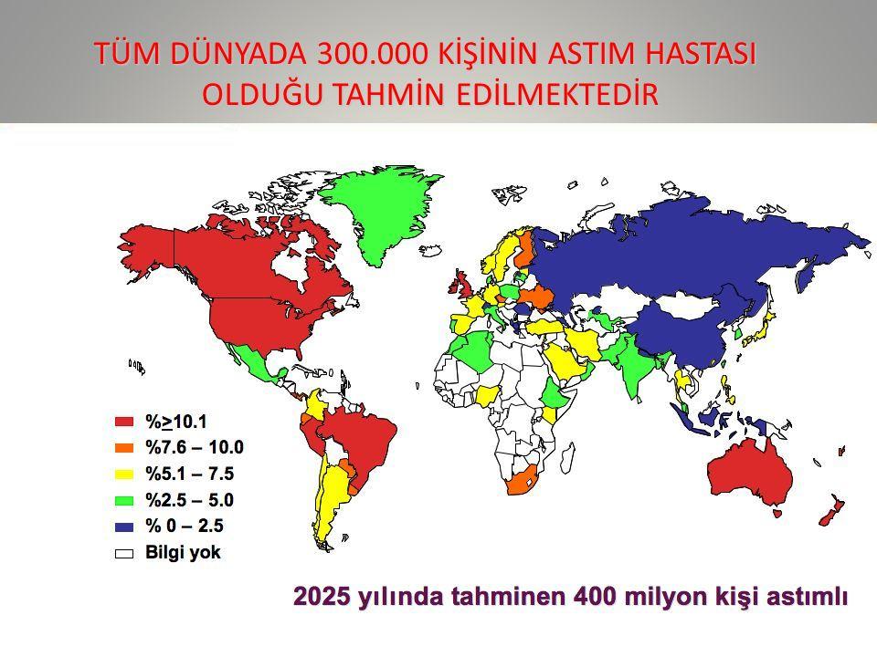 TÜM DÜNYADA 300.000 KİŞİNİN ASTIM HASTASI OLDUĞU TAHMİN EDİLMEKTEDİR