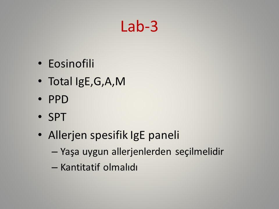Lab-3 Eosinofili Total IgE,G,A,M PPD SPT Allerjen spesifik IgE paneli – Yaşa uygun allerjenlerden seçilmelidir – Kantitatif olmalıdı