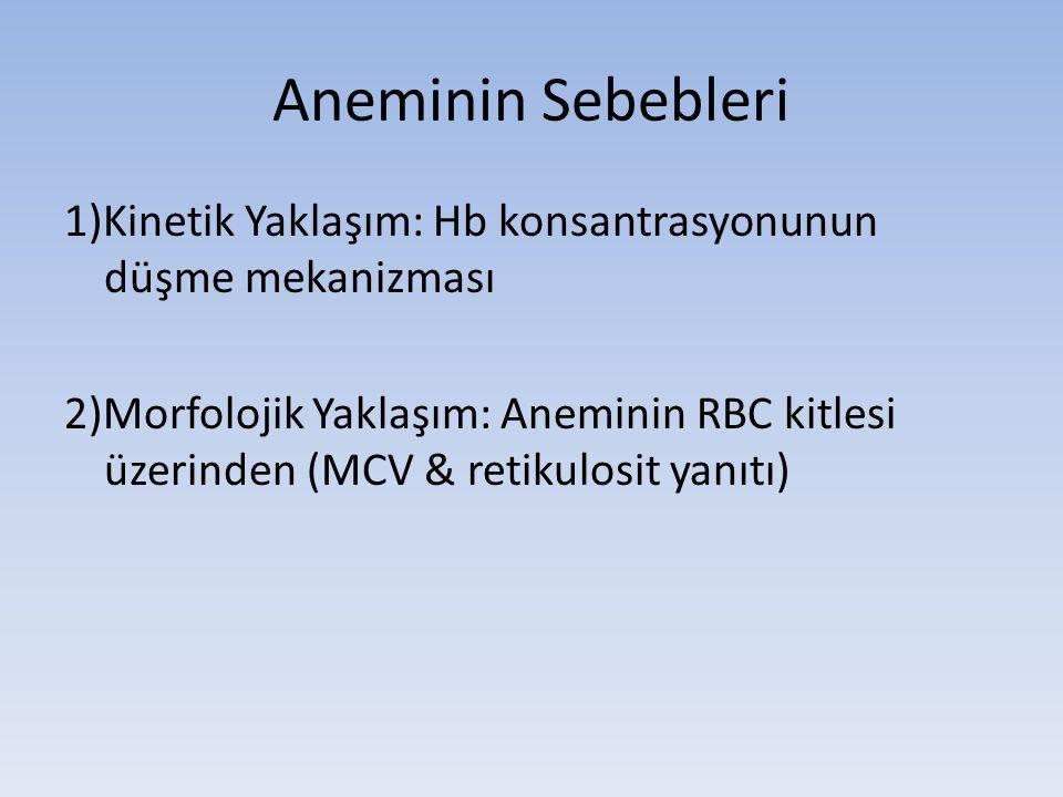 Aneminin Sebebleri 1)Kinetik Yaklaşım: Hb konsantrasyonunun düşme mekanizması 2)Morfolojik Yaklaşım: Aneminin RBC kitlesi üzerinden (MCV & retikulosit