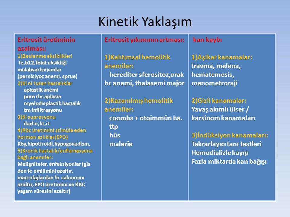 Kinetik Yaklaşım Eritrosit üretiminin azalması: 1)Beslenme eksiklikleri fe,b12,folat eksikliği malabsorbsiyonlar (pernisiyoz anemi, sprue) 2)Ki ni tutan hastalıklar aplastik anemi pure rbc aplasia myelodisplastik hastalık tm infiltrasyonu 3)Ki supresyonu ilaçlar,kt,rt 4)Rbc üretimini stimüle eden hormon azlıklar(EPO) Kby,hipotiroidi,hypogonadism, 5)Kronik hastalık/enflamasyona bağlı anemiler: Maligniteler, enfeksiyonlar (gis den fe emilimini azaltır, macrofajlardan fe salınımını azaltır, EPO üretimini ve RBC yaşam süresini azaltır) Eritrosit yıkımının artması: 1)Kalıtımsal hemolitik anemiler: herediter sferositoz,orak hc anemi, thalasemi major 2)Kazanılmış hemolitik anemiler: coombs + otoimmün ha.