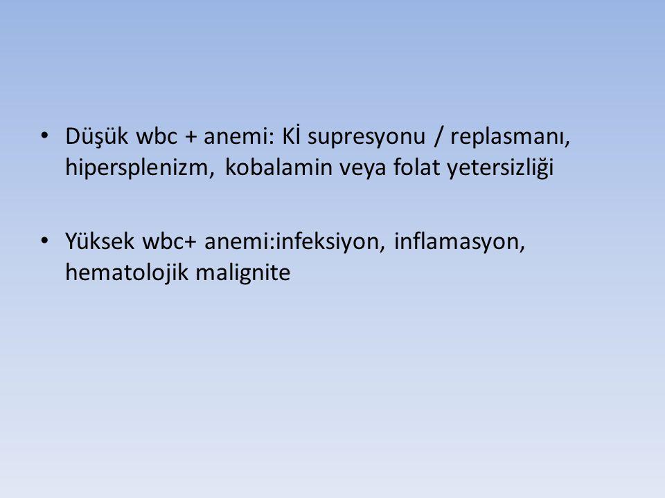 Düşük wbc + anemi: Kİ supresyonu / replasmanı, hipersplenizm, kobalamin veya folat yetersizliği Yüksek wbc+ anemi:infeksiyon, inflamasyon, hematolojik malignite