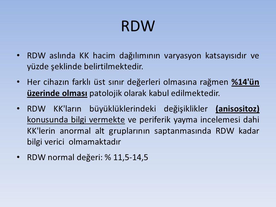 RDW RDW aslında KK hacim dağılımının varyasyon katsayısıdır ve yüzde şeklinde belirtilmektedir. Her cihazın farklı üst sınır değerleri olmasına rağmen