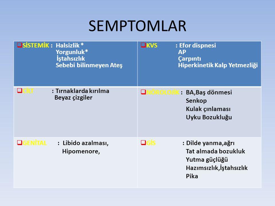 FİZİK MUAYENE AKB:Düşük veya normal NABIZ:Taşikardi,yüksek debili KY ATEŞ:Hafif yüksek BAŞ/BOYUN: Skleralar ve mukozalar ikterik (Hemolitik Anemi) Dil ağrılı,kızarık (B12 Eksikliği) Dil Papillaları atrofik Dudak kenarlarında çatlama (cheilosis) KVS : Apekste sistolik üfürüm Hiperkinetik KY bulguları SOLUNUM :Normal GİS: SM Hipersplenizm EKSTREMİTE: Kaşık tırnak (DEA) CİLT : Sarılık (HA)