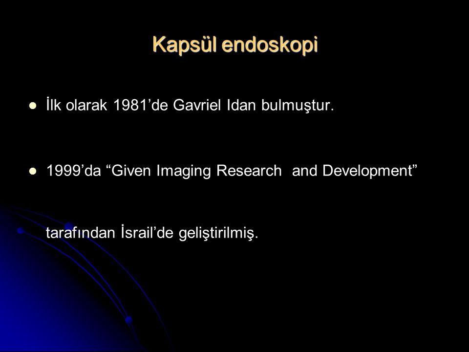 """Kapsül endoskopi İlk olarak 1981'de Gavriel Idan bulmuştur. 1999'da """"Given Imaging Research and Development"""" tarafından İsrail'de geliştirilmiş."""