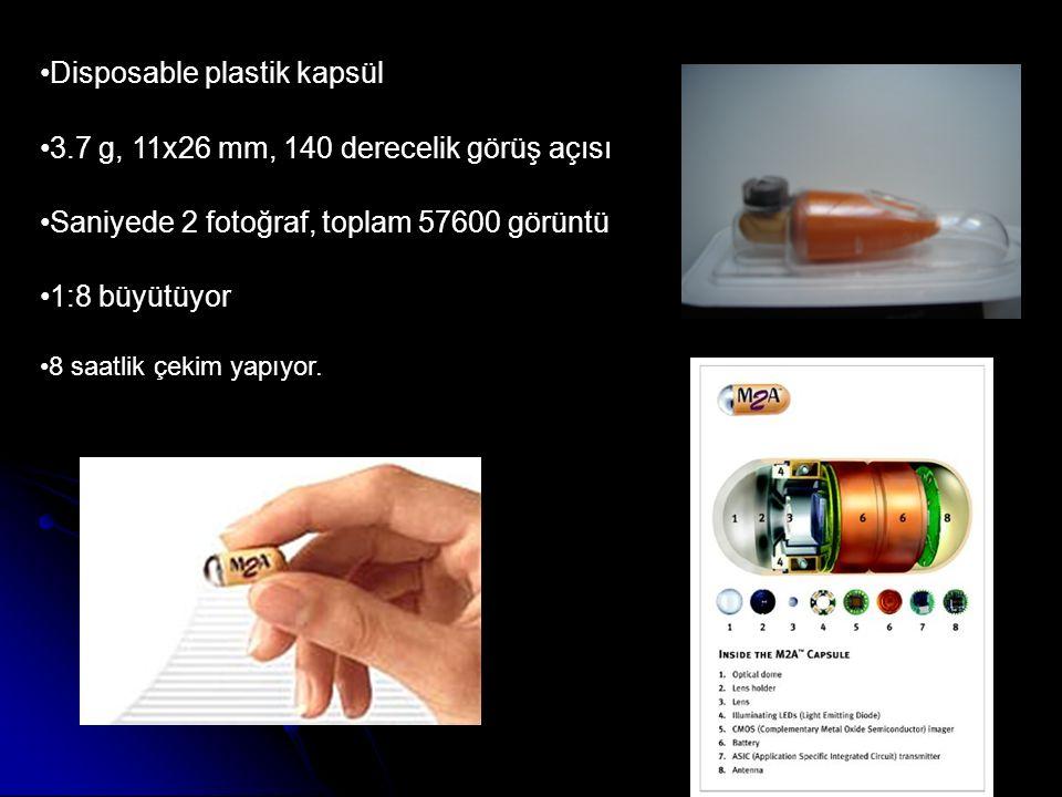 Disposable plastik kapsül 3.7 g, 11x26 mm, 140 derecelik görüş açısı Saniyede 2 fotoğraf, toplam 57600 görüntü 1:8 büyütüyor 8 saatlik çekim yapıyor.