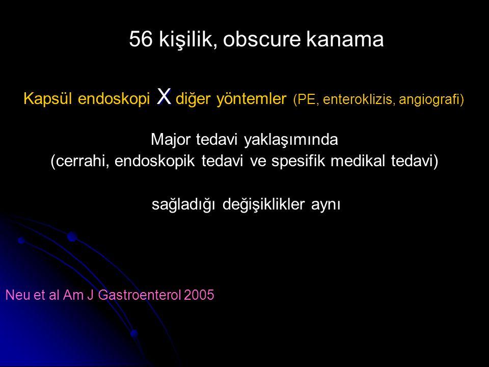 56 kişilik, obscure kanama X Kapsül endoskopi X diğer yöntemler (PE, enteroklizis, angiografi) Major tedavi yaklaşımında (cerrahi, endoskopik tedavi v