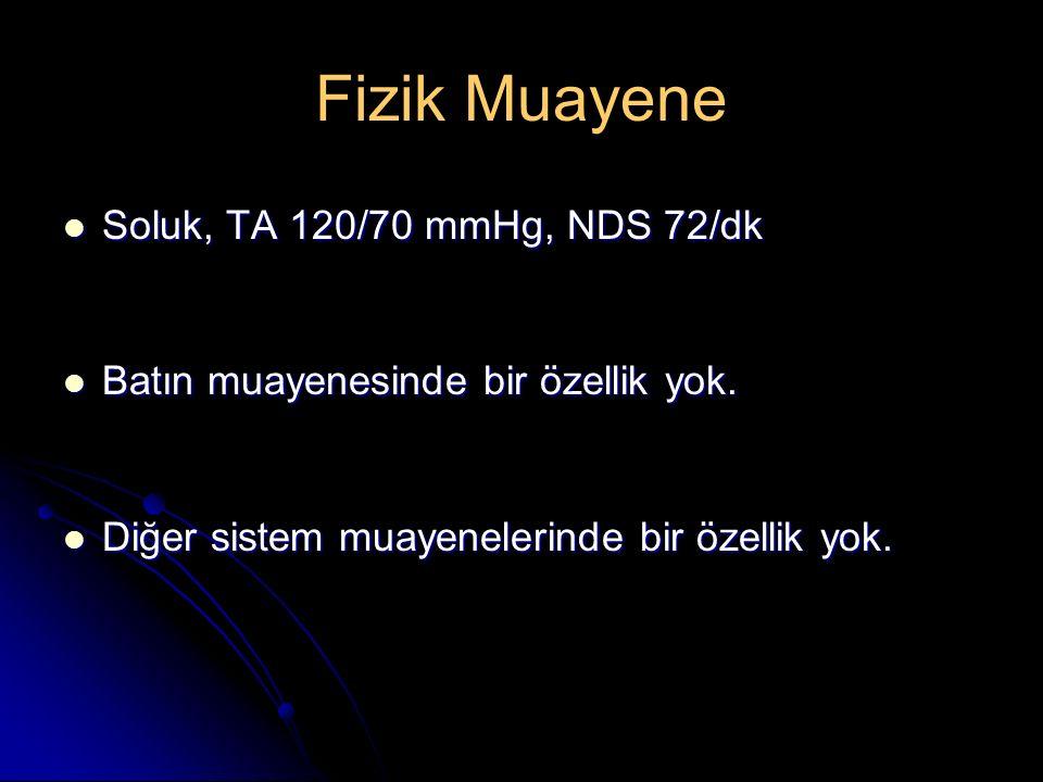 Fizik Muayene Soluk, TA 120/70 mmHg, NDS 72/dk Soluk, TA 120/70 mmHg, NDS 72/dk Batın muayenesinde bir özellik yok. Batın muayenesinde bir özellik yok