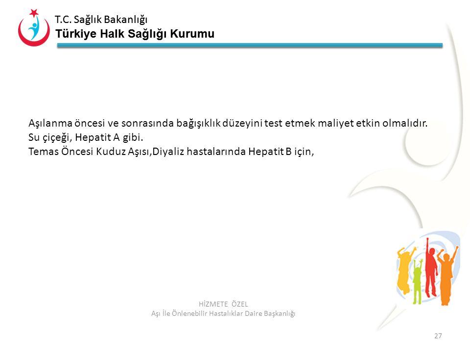 T.C. Sağlık Bakanlığı Türkiye Halk Sağlığı Kurumu T.C. Sağlık Bakanlığı Türkiye Halk Sağlığı Kurumu 27 HİZMETE ÖZEL Aşı İle Önlenebilir Hastalıklar Da