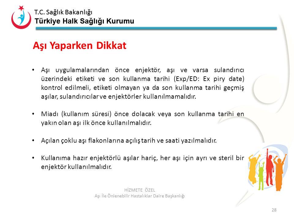 T.C. Sağlık Bakanlığı Türkiye Halk Sağlığı Kurumu T.C. Sağlık Bakanlığı Türkiye Halk Sağlığı Kurumu 28 HİZMETE ÖZEL Aşı İle Önlenebilir Hastalıklar Da