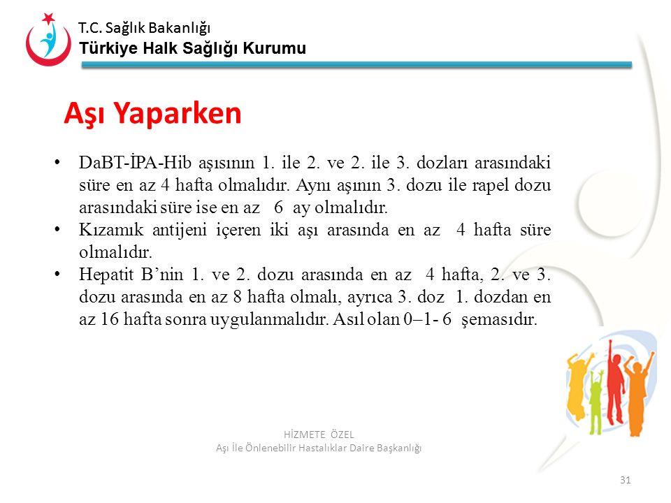 T.C. Sağlık Bakanlığı Türkiye Halk Sağlığı Kurumu T.C. Sağlık Bakanlığı Türkiye Halk Sağlığı Kurumu 31 HİZMETE ÖZEL Aşı İle Önlenebilir Hastalıklar Da