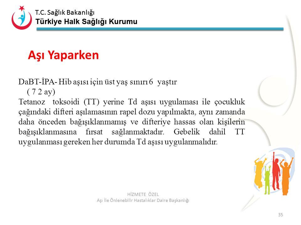 T.C. Sağlık Bakanlığı Türkiye Halk Sağlığı Kurumu T.C. Sağlık Bakanlığı Türkiye Halk Sağlığı Kurumu 35 HİZMETE ÖZEL Aşı İle Önlenebilir Hastalıklar Da