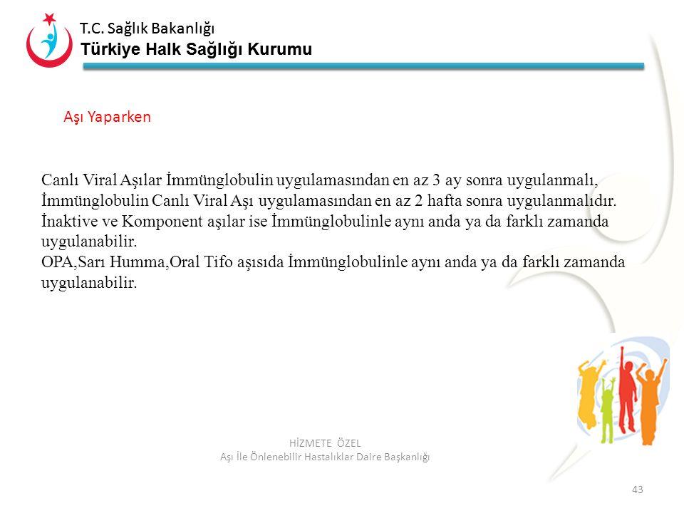 T.C. Sağlık Bakanlığı Türkiye Halk Sağlığı Kurumu T.C. Sağlık Bakanlığı Türkiye Halk Sağlığı Kurumu 43 HİZMETE ÖZEL Aşı İle Önlenebilir Hastalıklar Da