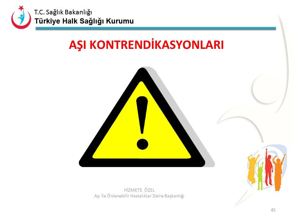 T.C. Sağlık Bakanlığı Türkiye Halk Sağlığı Kurumu T.C. Sağlık Bakanlığı Türkiye Halk Sağlığı Kurumu 45 HİZMETE ÖZEL Aşı İle Önlenebilir Hastalıklar Da