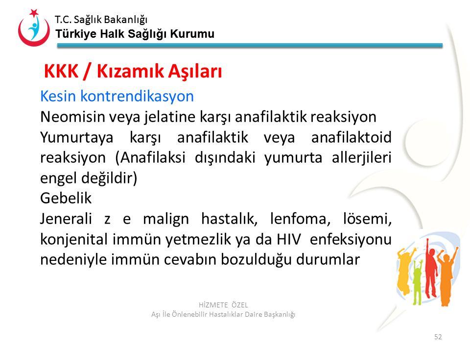 T.C. Sağlık Bakanlığı Türkiye Halk Sağlığı Kurumu T.C. Sağlık Bakanlığı Türkiye Halk Sağlığı Kurumu 52 HİZMETE ÖZEL Aşı İle Önlenebilir Hastalıklar Da