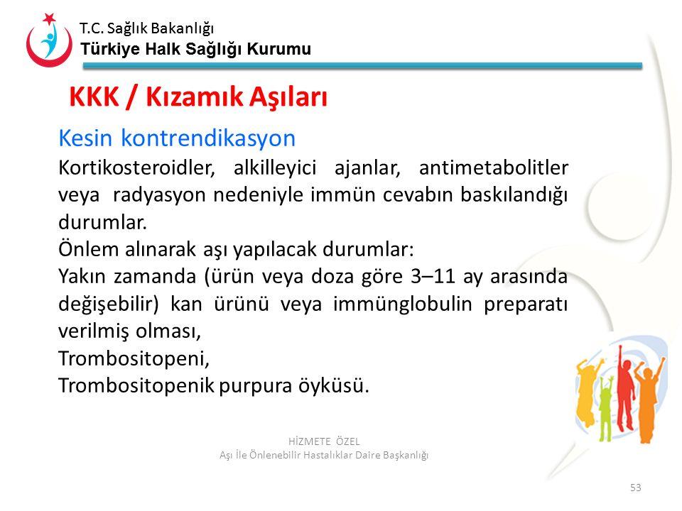 T.C. Sağlık Bakanlığı Türkiye Halk Sağlığı Kurumu T.C. Sağlık Bakanlığı Türkiye Halk Sağlığı Kurumu 53 HİZMETE ÖZEL Aşı İle Önlenebilir Hastalıklar Da