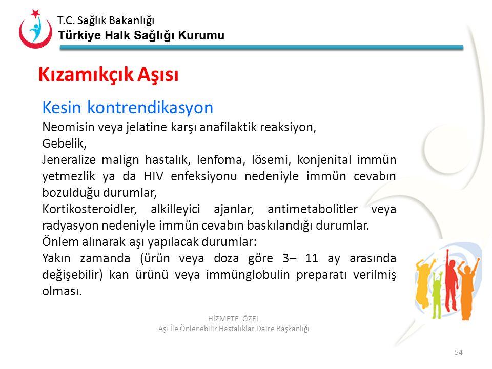 T.C. Sağlık Bakanlığı Türkiye Halk Sağlığı Kurumu T.C. Sağlık Bakanlığı Türkiye Halk Sağlığı Kurumu 54 HİZMETE ÖZEL Aşı İle Önlenebilir Hastalıklar Da