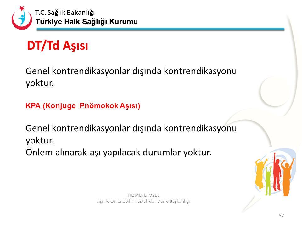 T.C. Sağlık Bakanlığı Türkiye Halk Sağlığı Kurumu T.C. Sağlık Bakanlığı Türkiye Halk Sağlığı Kurumu 57 HİZMETE ÖZEL Aşı İle Önlenebilir Hastalıklar Da