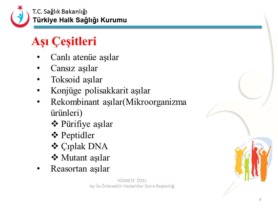 T.C. Sağlık Bakanlığı Türkiye Halk Sağlığı Kurumu T.C. Sağlık Bakanlığı Türkiye Halk Sağlığı Kurumu 6 HİZMETE ÖZEL Aşı İle Önlenebilir Hastalıklar Dai