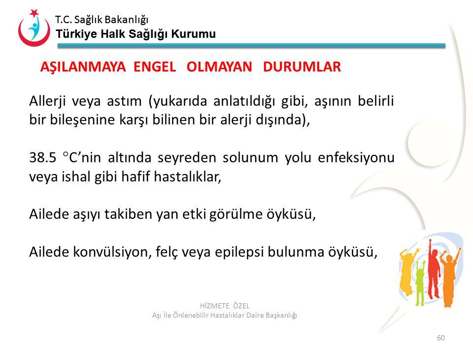 T.C. Sağlık Bakanlığı Türkiye Halk Sağlığı Kurumu T.C. Sağlık Bakanlığı Türkiye Halk Sağlığı Kurumu 60 HİZMETE ÖZEL Aşı İle Önlenebilir Hastalıklar Da