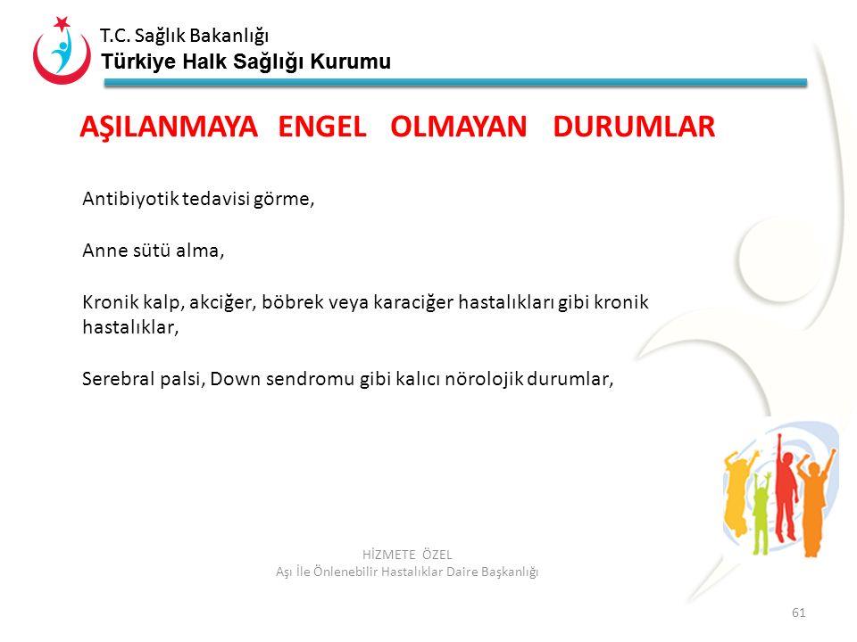 T.C. Sağlık Bakanlığı Türkiye Halk Sağlığı Kurumu T.C. Sağlık Bakanlığı Türkiye Halk Sağlığı Kurumu 61 HİZMETE ÖZEL Aşı İle Önlenebilir Hastalıklar Da