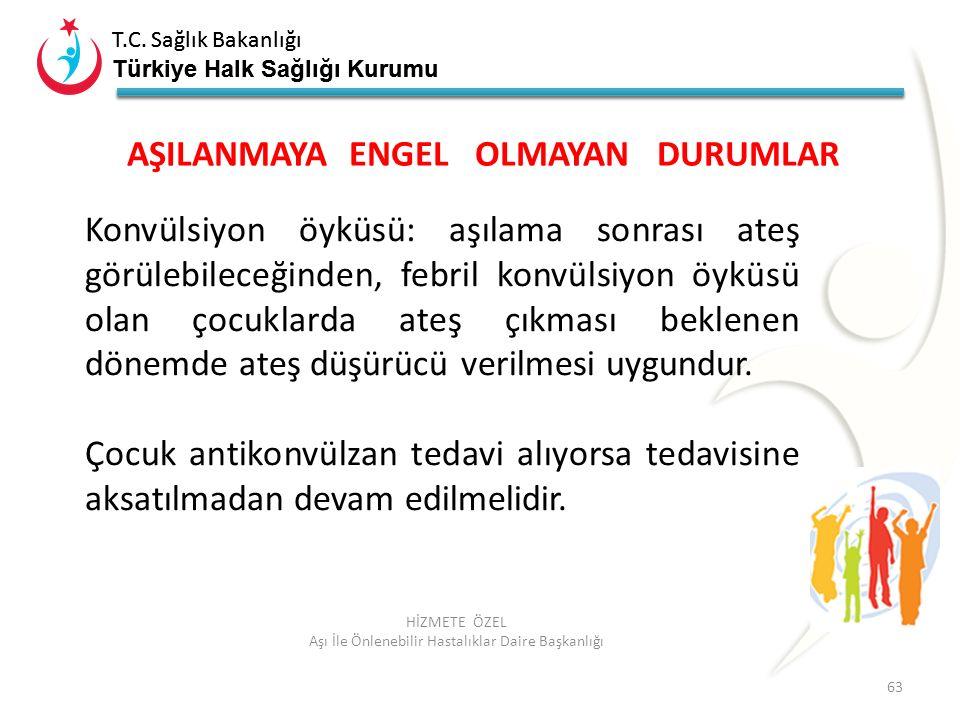 T.C. Sağlık Bakanlığı Türkiye Halk Sağlığı Kurumu T.C. Sağlık Bakanlığı Türkiye Halk Sağlığı Kurumu 63 HİZMETE ÖZEL Aşı İle Önlenebilir Hastalıklar Da