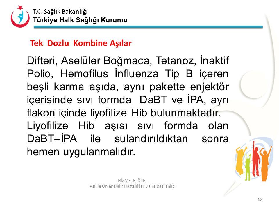 T.C. Sağlık Bakanlığı Türkiye Halk Sağlığı Kurumu T.C. Sağlık Bakanlığı Türkiye Halk Sağlığı Kurumu 68 HİZMETE ÖZEL Aşı İle Önlenebilir Hastalıklar Da